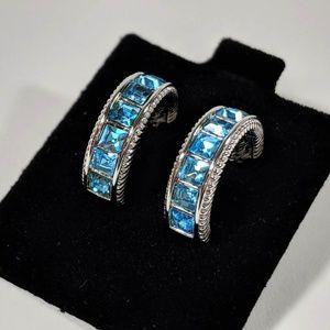 Swarovksi Blue Half Hoop Earrings